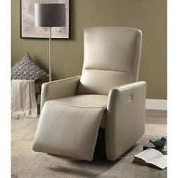 Raff Recliner , Beige Leather-Aire Beige Standard