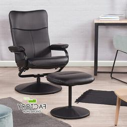 Office Recliner Chair Black Leather High Back Sofa Swivel w/
