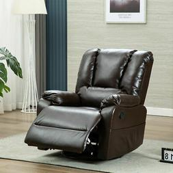Recliner Glider Sofa Chair 360° Swivel PU Leather Padded Se