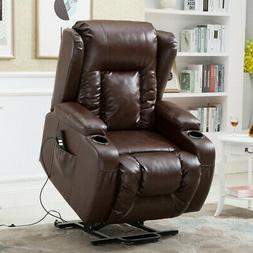 Recliner Power Lift Chair Wall Hugger PU Leather with Remote