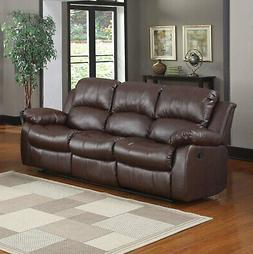 Recliner 3-Seater Sofa Brown Over Stuffed Bonded Leather Sof