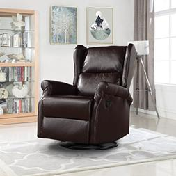 Reclining Swivel Accent Chair for Living Room, Faux Leather