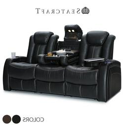 Seatcraft Republic Leather Home Theater Seating Sofa Recline