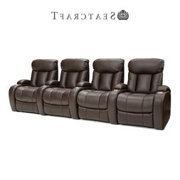Seatcraft Sausalito Home Theater Seat Leather Gel Brown Row