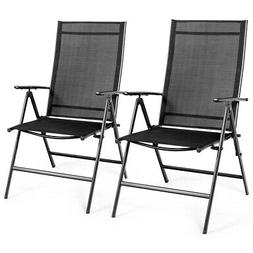 Set of 2 Patio Folding Dining Chair Recliner Adjustable Camp