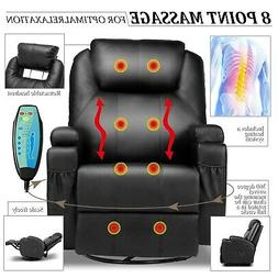 Electric Massage Recliner Chair Heated PU Leather Ergonomic