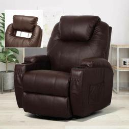 Electric Massage Recliner Chair Heated Leather Ergonomic Lou