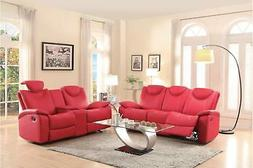 Talbot Red Bonded Leather Double Reclining Sofa Set 2Pcs Hom