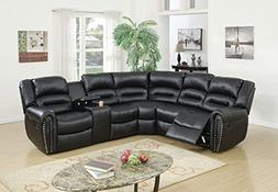 Poundex Tamanna Black Bonded Leather Reclining Sectional Sof