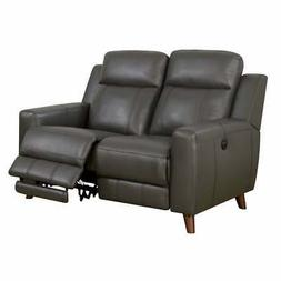 Transitional Leather Gel Recliner Love Seat With Power Grey