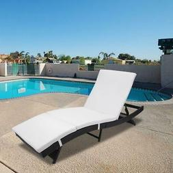 Wicker Chaise Outdoor Adjustable Chaise Lounge Chair Recline