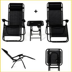 Zero Gravity Recliner Folding Table Patio Chairs Set 2 Outdo