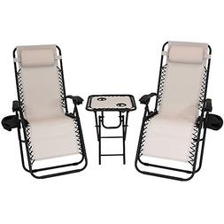 Sunnydaze Outdoor Zero Gravity Reclining Lounge Chairs Set o